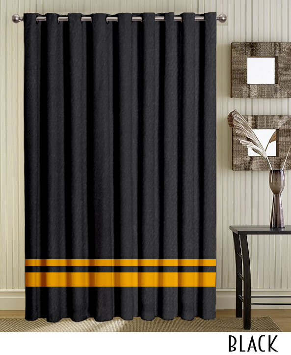 Black Grommet Curtains With Stripe