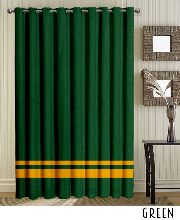 Green Striped Grommet Curtains