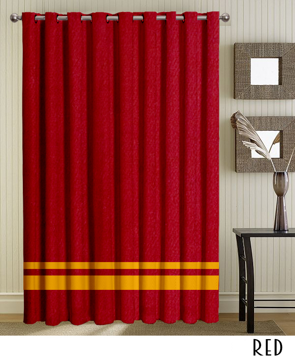 Red Grommet Curtains With Striped